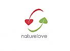 Zeichen, zweifarbig, Signet, Natur, Herz, Blatt, Logo