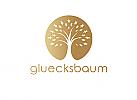 Zeichen, Signet, Symbol, Glücksbaum, Baum, Sterne, Kreis, Gold, Logo
