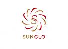 Zeichen, zweifarbig, Signet, Sonne, Strahlen, Spirale, S, Logo