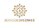 Öko, Zeichen, Signet, Symbol, Blume, Ornament, Sonne, Gold, Initiale, Logo