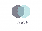 Zeichen, zweifarbig, Signet, Symbol, Wolken, Cloud, 8, IT, Software, Logo