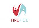 Zeichen, zweifarbig, Signet, Symbol, Menschen, Feuer, Eis, Logo