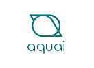 Zeichen, zweifarbig, Signet, Symbol, Wasser, Tropfen, Aqua, a, Logo