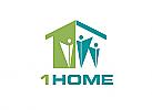 Zeichen, zweifarbig, Signet, Symbol, Menschen, Familie, Haus, 1, Logo