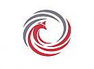 Zeichen, zweifarbig, Signet, Symbol, Phönix, Feuervogel, Spirale, Logo