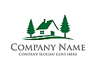 Haus, Dorf, Kiefernwald, Camping, Ausflug, Logo