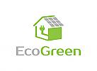 Ökologie, Energie, Sonnenkollektoren, Architektur, Installationen, Logo