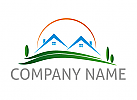 Öko-häuser, Zwei Häuser, Wiese, Immobilien, Logo
