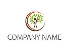 Ökologisch, Person als Baum, Sonne, Logo