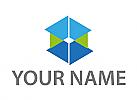 Ökologisch, Würfel, Cube, Dreiecken, Logo