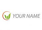 Ökologisch, Pflanze, Drei Blätter, Sonne, Logo