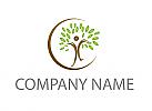 Ökologisch, Person als Baum und Kreis Logo