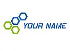 Zweifarbig, Sechsecke, Würfel, Netzwerk, Logo