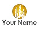 Zweifarbig, Hochhäuser, Skyline in Gold, Immobilien, Logo