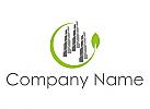 Öko-stadt, Hochhäuser, Skyline, Blatt, Immobilien, Logo
