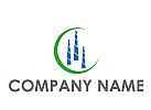 Zweifarbig, Hochhäuser, Skyline und Kreis, Immobilien, Logo