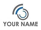 Zweifarbig, Kreise und Wellen, Netzwerk, Kommunikation, Logo