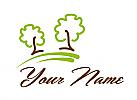 Ökologie, Zwei Bäume, Pflanzen, Gärtner, Logo