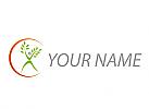 Ökologisch, Person als Baum, Pflanze, Sonne, Logo