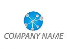 Zweifarbig, Viele Kreise, Kugel, Netzwerk, Logo