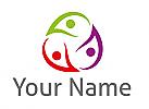Öko-Medizin, Drei Personen, Team, Familie, Logo