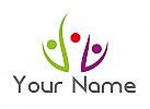 Ökomedizin, Drei Personen, Arztpraxis, Team, Familie, Logo