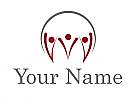 Öko-Medizin, Team, Gruppe, Drei Personen, Familie, Logo