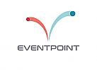 Zeichen, zweifarbig, zwei springende Bälle, Signet, Symbol, Event, Logo