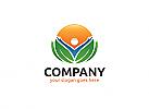 Ö, Zeichen, Signet, Mensch, Sonne, Blatt, Heilpraktiker, Natur, Wellness, Blätter, Pflanze, Vegan Logo