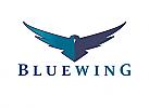 Zeichen, zweifarbig, Signet, Symbol, Vogel, Adler, blaue Flügel, Logo