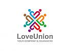 Abstrakt, Menschen, Gruppe, Gewerkschaft, Liebe, Logo