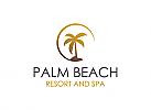 Palme, Spa, Wellness, Restaurant, Natur, Umriss, Minimalist, Logo
