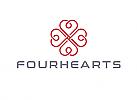 ö, Zeichen, Signet, Symbol, Ornament, vier Herzen, Logo
