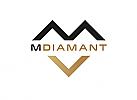 Zeichen, zweifarbig, Signet, Symbol, Diamant, M, V, Logo