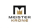 Zeichen, zweifarbig, Signet, Symbol, Krone, M, Logo