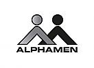 Ö, Zeichen, Zeichnung, zweifarbig, zwei Menschen, A, A, Logo