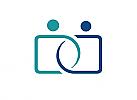 Zeichen, zweifarbig, Zeichnung, zwei Menschen, D, logo