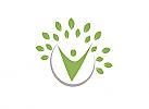 Öko, Zeichen, zweifarbig, Zeichnung, Mensch, Baum, Logo