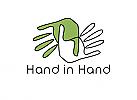Zeichen, zweifarbig, Zeichnung, zwei Hände, Handwerk, Logo