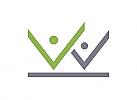 Zeichen, zweifarbig, zwei Menschen, Checkmark, Haken, Logo