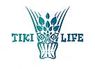 Zeichen, zweifarbig, Zeichnung, Maske, Tiki, Logo