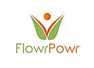 Zeichen, zweifarbig, Zeichnung, Mensch, Blume, Logo