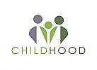 Zeichen, zweifarbig, Zeichnung, Familie, Kind, Menschn, Logo