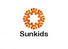 Zeichen, zweifarbig, Zeichnung, Sonne, Kinder, Logo