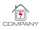 Zweifarbig, Haus, Strom, Elektriker, Logo