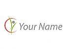 Ökologisch, Person in Bewegung, Kreis, Physiotherapie, Logo