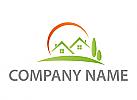 Ökohäuser, Zwei Häuser, Dächer und Wiese Logo