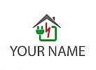 Zeichen, Zeichnung, Haus, Strom, Elektriker, Handwerker, Logo