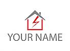 Zweifarbig, Haus, Strom, Elektriker, Handwerker, Logo