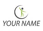Ökologisch, Person in Bewegung, Fitness, Physiotherapie, Logo